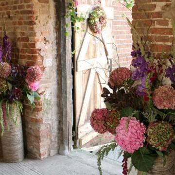 Beautiful flowers at the door